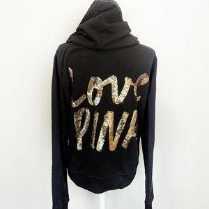 Victoria Secret PINK Black Sequin Full Zip Jacket